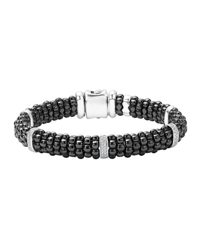 Black Caviar Ceramic Bracelet with Diamonds
