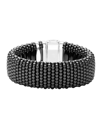Black Caviar Ceramic Rope Bracelet, Size Medium