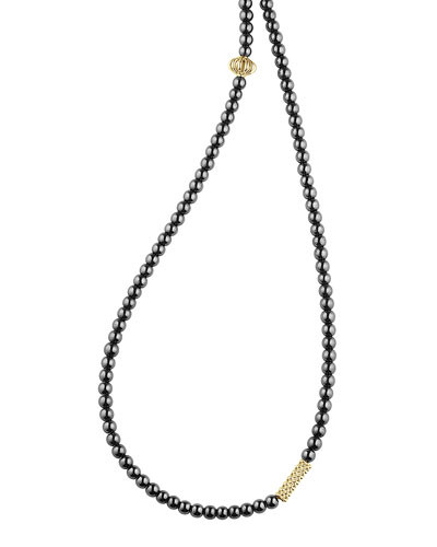 Icon Beaded Hematite Station Necklace, 34