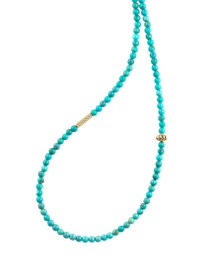 Icon Beaded Turquoise Station Necklace, 34
