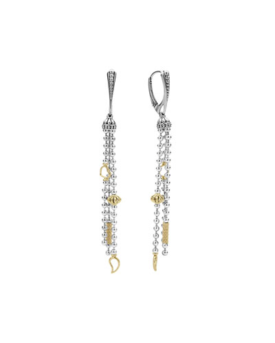 Icon Caviar Sterling Silver & 18K Tassel Earrings