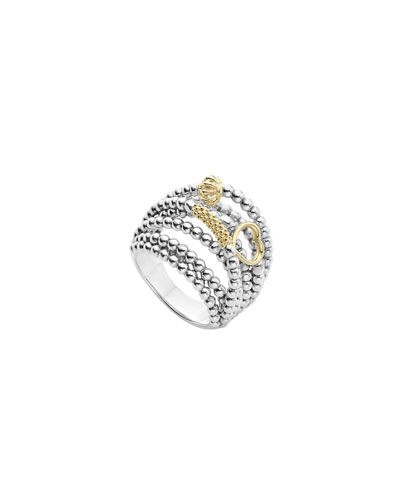 Icon Caviar Domed Multi-Row Ring, Size 7