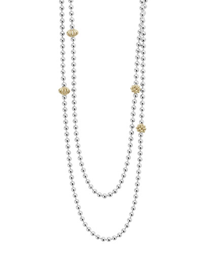 Icon Caviar Beaded 18K Ball Chain Necklace, 36