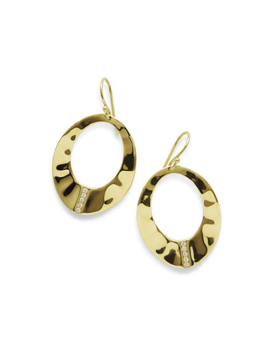 18K Senso Open Wavy Disc Earrings with Diamonds