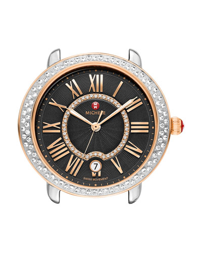 16mm Serein Two-Tone Watch Head with Diamonds, Rose Gold/Black