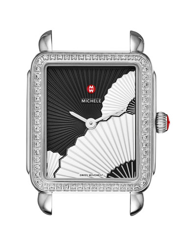 Deco II Midsize Diamond Fan Watch Head, Black/White