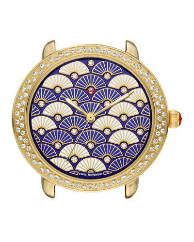 Serein Diamond Fan Watch Head, Blue/Gold
