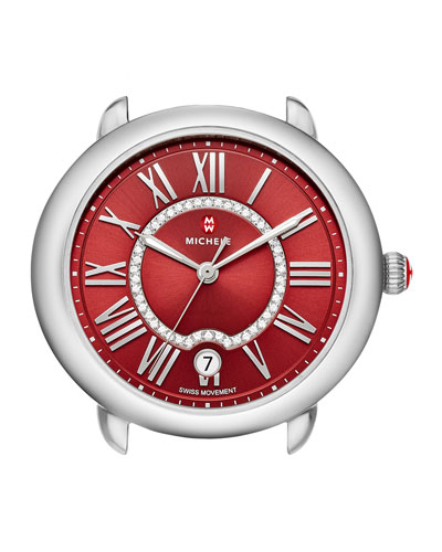 16mm Serein Watch Head with Diamonds, Red