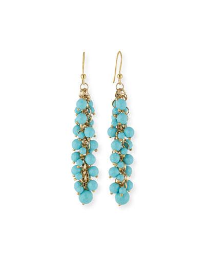 Grappolo Beaded Dangle Drop Earrings, Turquoise