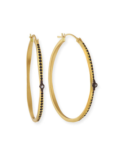 Old World Hoop Earrings with Black Sapphires & Diamonds