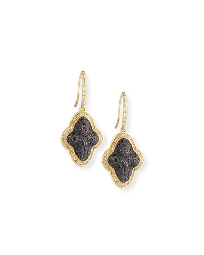 Old World Cluster Saddle Earrings with White & Champagne Diamonds and Black ...