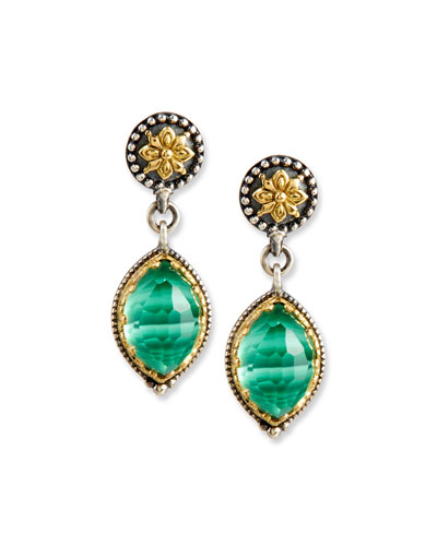 Faceted Green Crystal Quartz Over Malachite Teardrop Earrings