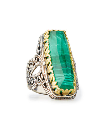 Faceted Green Crystal Quartz Over Malachite Cocktail Ring