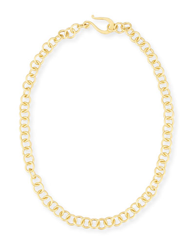 Adjustable 18K Gold-Plated Chain Necklace, 18