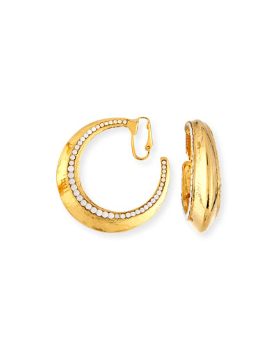 Beaded Golden Clip-On Hoop Earrings