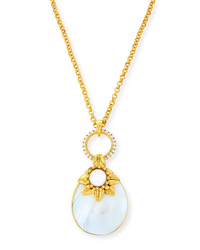 Mother-of-Pearl Doorknocker Pendant Necklace