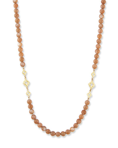 Old World Long Beaded Moonstone Scroll Necklace, 36