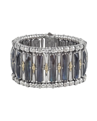 Crystal Quartz Over Spectrolite Doublet Cuff Bracelet, Blue Gray