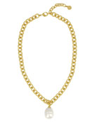 Golden Chain Necklace with Pearly Charm