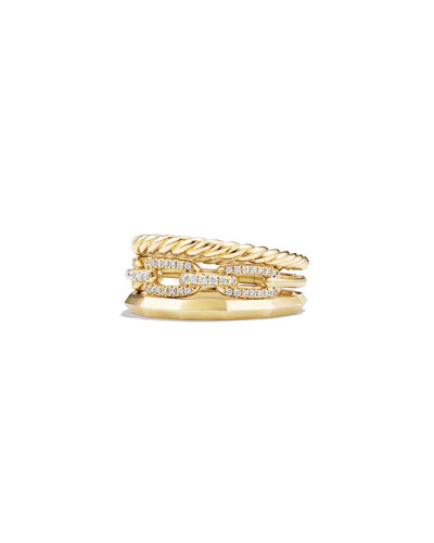 9.5Mm Stax Three-Row 18K Chain Link Ring With Diamonds, Size 7 in Gold