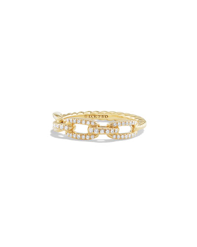 Stax Single-Row Pave Chain Link Ring with Diamonds in 18K Gold, Size 6