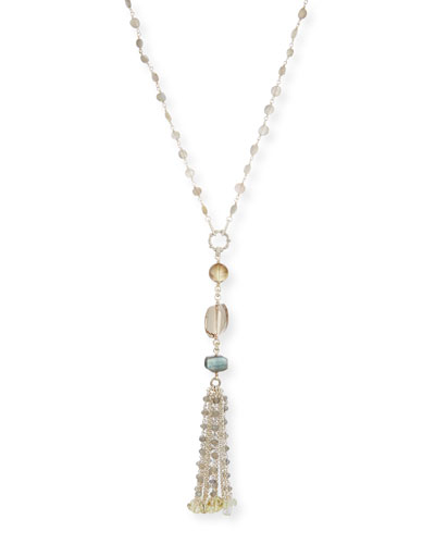 Labradorite & Quartz Tassel Chain Necklace
