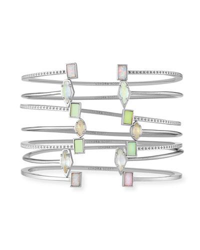 Kinsley Bracelet Set in Silvertone Plate