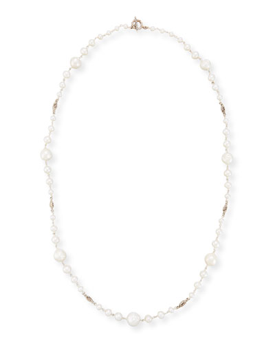Graduated Pearl Single-Strand Necklace, 34
