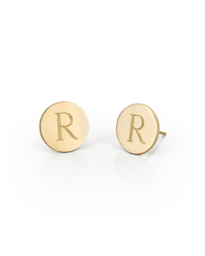 Quick Look Sarah Chloe Round Engraved Monogram Stud Earrings