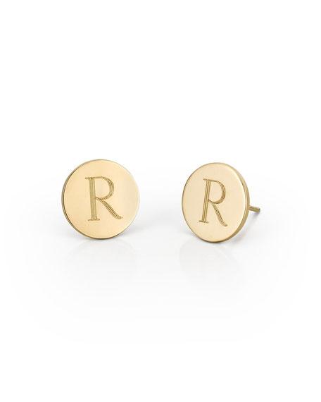 Sarah Chloe Round Engraved Monogram Stud Earrings