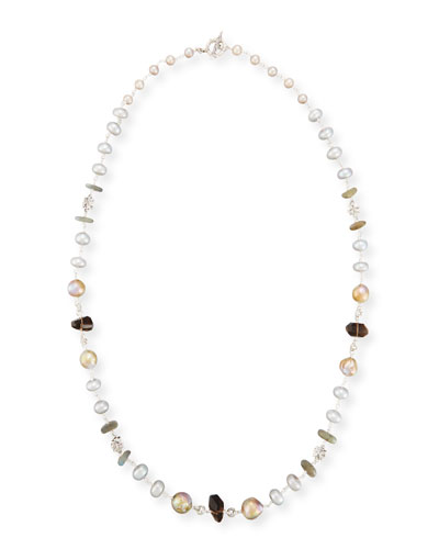 Labradorite, Smoky Quartz & Pearl Necklace, 32