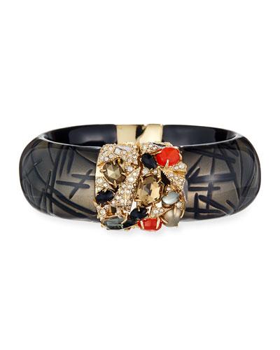 Crystal-Encrusted Mosaic Futurist Hinge Bracelet