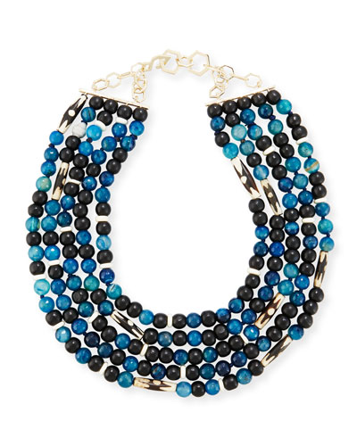 Five-Strand Beaded Necklace, Blue