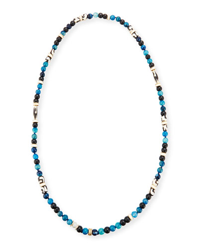 Long Single-Strand Agate Necklace, Blue