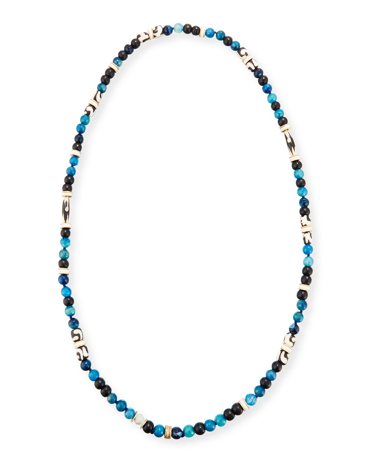 Long Single-Strand Agate Necklace