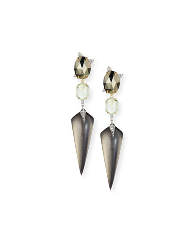 Mosaic Futurist Spike Drop Earrings, Gray