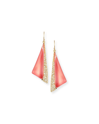 Futurist Crystal-Trim Drop Earrings