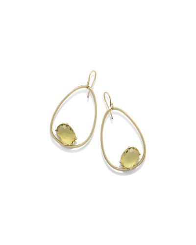 18K Rock Candy Tipped Oval Wire Earrings