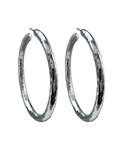 925 Glamazon #4 Skinny Bastille Hoop Earrings