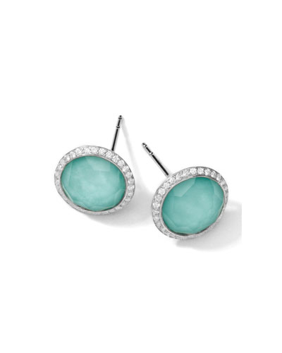 Stella Stud Earrings in Turquoise Double with Diamonds