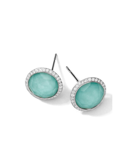 Ippolita Stella Stud Earrings in Turquoise Double with Diamonds