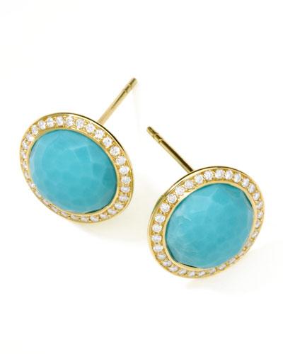 Quick Look Ippolita Rock Candy 18k Gold Lollipop Diamond Stud Earrings