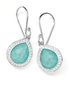 Rock Candy Teardrop Earrings in Turquoise Doublet with Diamonds, 28mm