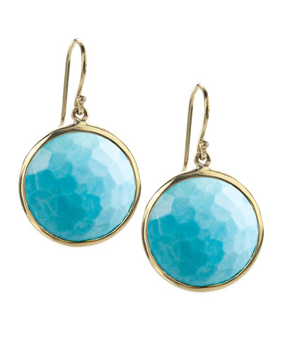 18k Gold Rock Candy Lollipop Earrings, Turquoise with Diamonds