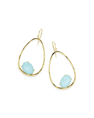 18K Rock Candy Tipped Oval Wire Earrings in Clear Quartz and Turquoise ...