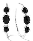 Rock Candy Silver 3-Stone #3 Hoop Earrings in Black Onyx