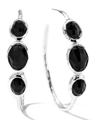 Rock Candy Silver 3-Stone #3 Hoop Earrings in Black Onyx