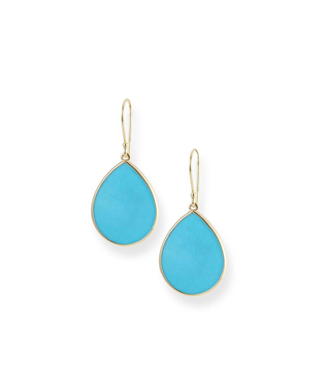 18k Small Teardrop Slice Earrings in Turquoise