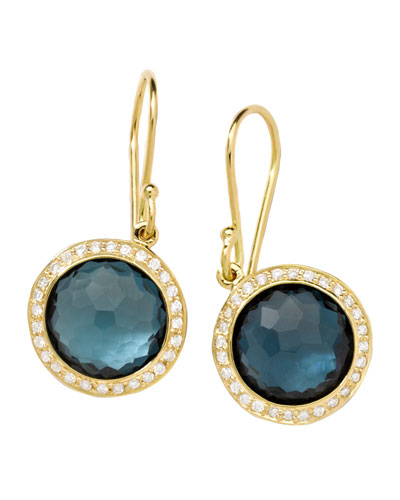 Ippolita 18K Rock Candy Tipped Oval Wire Earrings in Clear Quartz and Turquoise jk0To