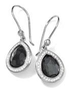 Stella Teardrop Earrings in Hematite & Diamonds, 28mm